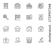 real estate service line icons... | Shutterstock .eps vector #1729957348
