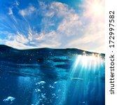 design template with underwater ...   Shutterstock . vector #172997582