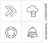 set of 4 line icon signs and...