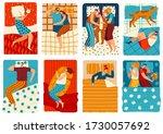 people sleep in bed  set of... | Shutterstock .eps vector #1730057692
