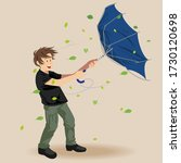 man tries to hold his umbrella... | Shutterstock .eps vector #1730120698