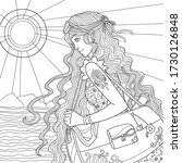 summer coloring page. girl with ...   Shutterstock .eps vector #1730126848