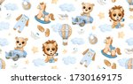 Watercolor Pattern With Cute...