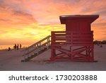 Lifeguard Tower At Sunset At...