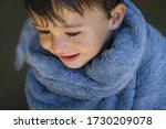 Wet Boy Wrapped In Blue Towel ...
