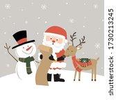 cute santa  snowman and...   Shutterstock .eps vector #1730213245