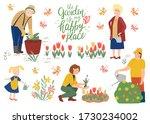 happy family working in garden. ... | Shutterstock .eps vector #1730234002