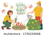 man gardener watering plants.... | Shutterstock .eps vector #1730234008