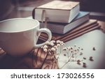 Books  Flowers  White Cup And...