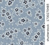 Hand Drawn Artistic Naive Daisy Flowers on Blue Denim Background Vector Seamless Pattern. Blooms, Indigo Floral Print. Expressive Outlines, Organic Large Scale Simplistic Retro Fashion Design