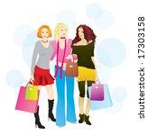 shopping day  3 layers  girls ... | Shutterstock .eps vector #17303158