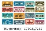 Usa License Plate Set. Retro...