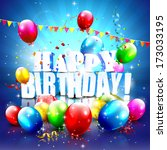 colorful birthday poster with... | Shutterstock .eps vector #173033195