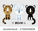 cute wild cats. cartoon vector... | Shutterstock .eps vector #1730344828