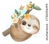 cute little sloth with...   Shutterstock .eps vector #1730356495