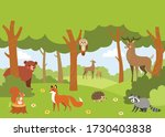 forest animals set in forest... | Shutterstock .eps vector #1730403838