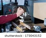turning work. a man working on... | Shutterstock . vector #173043152