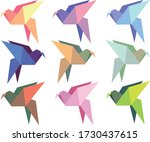 set with colorful origami birds ... | Shutterstock .eps vector #1730437615