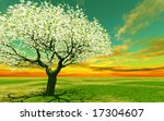 blossoming tree in the sunset | Shutterstock . vector #17304607