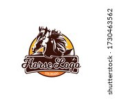 Beautiful horse logo. Mane in the wind. Emblem with a horse. Isolated vector. Stallion. Modern design. Ranch, stable and horse breeding. Elite horse. Powerful stallion. Riding school. - stock vector