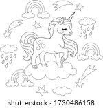 cute little unicorn on cloud... | Shutterstock .eps vector #1730486158