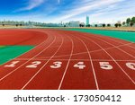 red plastic runway and numbers... | Shutterstock . vector #173050412
