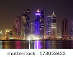 Stock photo doha downtown skyline at night qatar middle east 173053622