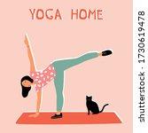 Woman Doing Yoga At Home....