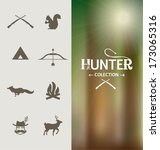 hunter icons collection. set of ... | Shutterstock .eps vector #173065316