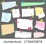 sticky notes on paper  torn... | Shutterstock .eps vector #1730693878
