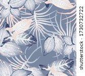 tropical leaf modern motif.... | Shutterstock .eps vector #1730732722