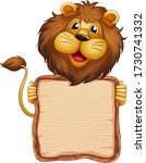 board template with cute lion...   Shutterstock .eps vector #1730741332