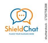 shield chat vector logo... | Shutterstock .eps vector #1730758288