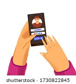 hand with phone vector concept...
