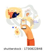 hand with phone vector...   Shutterstock .eps vector #1730822848