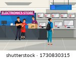 electronic store. couple buys... | Shutterstock .eps vector #1730830315