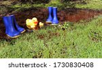 Children's Blue Rubber Boots In ...
