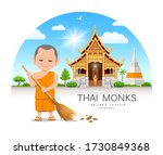 thai monk is leaf sweep design... | Shutterstock .eps vector #1730849368