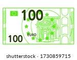100 euro banknote. vector line... | Shutterstock .eps vector #1730859715