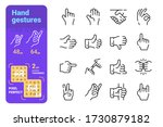 Hand Gestures Line Icons Set...