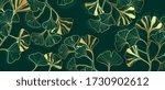luxury gold ginkgo line arts... | Shutterstock .eps vector #1730902612