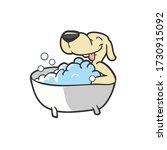 cute dog on bathtub cartoon... | Shutterstock .eps vector #1730915092