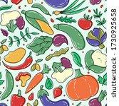 vegetables seamless pattern.... | Shutterstock .eps vector #1730925658