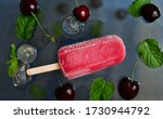 Ice Lolly With Cherries  And...