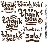 thank you  lettering   handmade ... | Shutterstock .eps vector #173096072