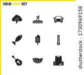 sunny icons set with storm ...