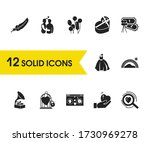 family icons set with balloons  ...
