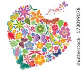holiday heart with flowers and... | Shutterstock .eps vector #173099078