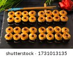 set of baked sushi rolls with... | Shutterstock . vector #1731013135