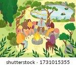 garden picnic  people sitting... | Shutterstock .eps vector #1731015355